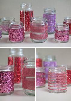 #DIY Martha Stewart Glittered Glass Jars, so easy - it's just double sided tape! @Martha Stewart