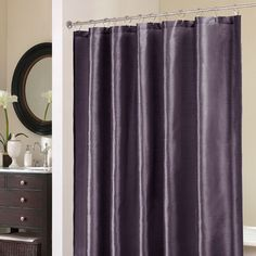 Dark purple shower curtain decoration wonderful country bathroom decor shower curtain from purple silk fabric using . Curtains Kohls, Drapes Curtains, Bathroom Shower Curtains, Fabric Shower Curtains, Master Bathroom, Plum Bathroom, Downstairs Bathroom, Plum Bedding, Bedding Sets