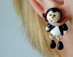 vampire earrings,Dracula Halloween Earrings,double sided earring,faux gauge,front back dangling earrings,unusual ear jackets,two part stud - pinned by pin4etsy.com