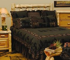 Moose Bed Set. Silhouettes of Moose and Trees on forest green with woodsy accent colors complement a rustic bedroom. $520.