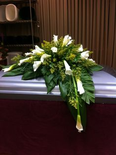 Calla lily asymmetrical design casket piece - My site Funeral Floral Arrangements, Church Flower Arrangements, Beautiful Flower Arrangements, Beautiful Flowers, Funeral Bouquet, Funeral Flowers, Wedding Flowers, Cemetary Decorations, Funeral Caskets