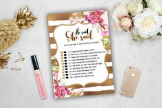 He Said She Said Baby Shower Game Girl Pink Gold White Spade Stripes Glitter…