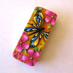 Butterfly Slide Top Tin Sewing Needle Case , Polymer Clay Covered Tin, Slide Tin Treasure Keeper, Stitch Marker Case by Claybykim on Etsy