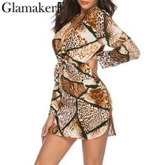 Snake print deep v neck sexy short dress women long sleeve spring dress  Female punk party summer chic club mini dress 89831a097