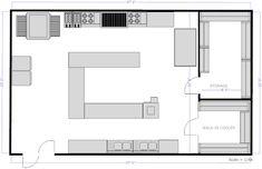 kitchen layouts with island | Restaurant Kitchen C Island Floor Plan Example - SmartDraw
