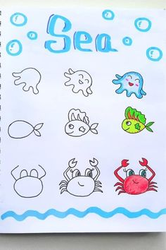 Best step by step ocean doodle tutorials and ideas for your bullet journal! Easy Doodles Drawings, Cute Easy Drawings, Cute Little Drawings, Simple Doodles, Bullet Journal Banner, Bullet Journal Writing, Bullet Journal Ideas Pages, Bullet Journal Inspiration, Bullet Journals
