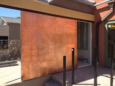I made a copper door for an outside laundry closet. This door has 16 oz copper flat seam panels on both sides!