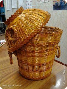 Поделка изделие Плетение Ведерко Трубочки бумажные фото 4