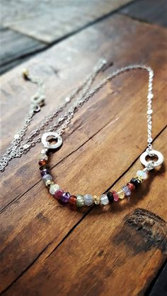 Sterling Silver And Gemstone Necklace Multi Color Gemstone