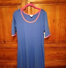 NWT LuLaRoe Ana  XXL / 2XL  Cobalt Blue w/ Hot Pink Ringer Maxi Stretch Dress  in Clothing, Shoes & Accessories, Women's Clothing, Dresses | eBay