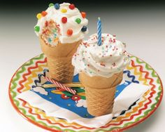 Why should kids eat cake from a plate when they can eat it from an ice cream cone with sprinkles and candy on top? With this recipe, they can. They can even decorate their own cake cone with frosting and toppings. To really mix things up, compliment the cake with ice cream served on a plate.