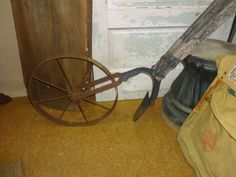 Antique Push Plow Cultivator with Wooden Handles