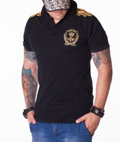 Dolce & Gabbana Verginе Family Black Polo Color: black Embroidered Dolce & Gabbana logo on the left chest side Ribbed cuffs and collar 3 button placket Dolce & Gabbana, Formal, Polo Ralph Lauren, Men's Polo, Polo Shirts, Designer Clothing, Model, Mens Tops, T Shirt