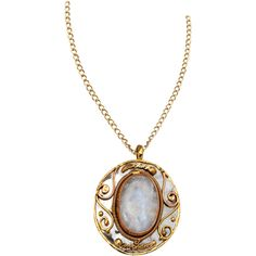 Mixed Metal Moonstone Pendant - AJ-0668 by Medieval Collectibles