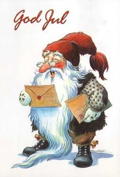 My Collection (Kjell Midthun, Johnnie Jacobsen, other Norwegian & Danish artists) - Guillaume Tell - Picasa Web Albums Christmas Gnome, Father Christmas, Winter Christmas, Christmas Crafts, Merry Christmas, Norwegian Christmas, Danish Christmas, Scandinavian Christmas, Illustration Noel