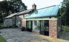 glazen dak, zwarte ramen, recuperatie-stenen