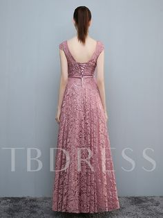 A-line Pink Elegant Scoop Floor-length Lace Formal Evening Dresses Indian Gowns Dresses, Indian Fashion Dresses, Pretty Prom Dresses, Party Wear Dresses, Stylish Dresses For Girls, Simple Dresses, Long Gown Dress, Lace Dress, Lehenga Designs Simple