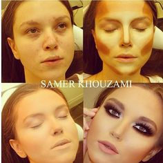 Face Make-up Contouring Before & Afters The Work of Samer A. Khouzam - Make-Up Artist Makeup Contouring, Contouring And Highlighting, Skin Makeup, Contouring Products, Contour Face, Makeup Blending, All Things Beauty, Beauty Make Up, Hair Beauty