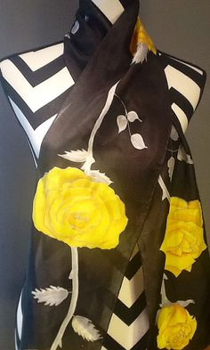 Hand painted silk scarf, yellow roses with gray leaves on a black background