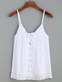 White Eyelet Lace Up Crochet Trimmed Cami Top Cami Tops, Look Fashion, Fashion Outfits, Womens Fashion, Böhmisches Outfit, Professional Wardrobe, Lauren, Well Dressed, Lounge Wear
