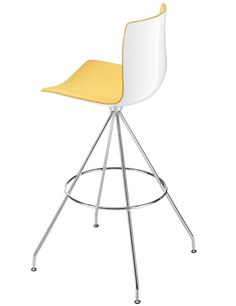 Arper / Catifa 46 / Catifa 46 - Bar stool - high back, front upholstered (2x grey back/yellow front + 2x whit back/dark grey front)