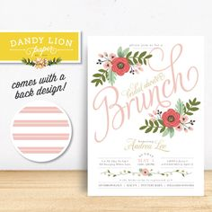Blush Pink Floral Bridal Shower Brunch Invitation - DIY Printable Invitation OR Custom Printed Invitations by dandylionpaper on Etsy https://www.etsy.com/listing/194451197/blush-pink-floral-bridal-shower-brunch