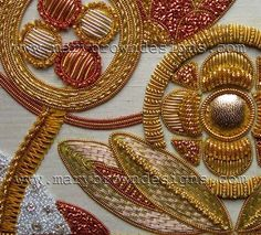 Gold, silver and copper work. All done in metal threads. This is my newest passion. Copper Work, Gold Work, Ribbon Embroidery, Embroidery Patterns, Indian Embroidery, Corset Sewing Pattern, Lesage, Crochet Designs, Craft Tutorials