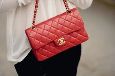 Beautiful red + gold Chanel bag.