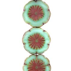 14mm Mint with Picasso Hibiscus Czech Glass Beads