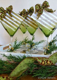 It's beginning to look a lot like cocktails - Christmas party invitations using Dollar Store Martini Glasses. Fun to hand deliver to neighbors or girlfriends - Simple Details