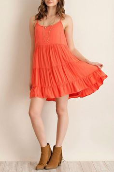 Coral tiered babydoll dress with lace up detail in back. Fabric is a soft crepe style and fully lined. Style it with lace up sandals or dress is up with wedges.    Coral Babydoll Dress by Entro. Clothing - Dresses - Casual Mississippi