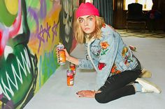 Cara Delevingne Helps Spray Paint London 'Suicide Squad' Mural