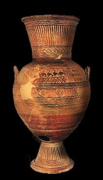 Urn with conical foot and neck. It is decorated with narrow bands and birds. Late 8th century BC.  Archaeological Museum, Eretria ΜΕ 15429. Hellenic Ministry of Culture/Archaeological Receipts Fund.  Sapouna-Sakellaraki, E., Eretria: Site and Museum, Hellenic Ministry of Culture/Archaeological Receipts Fund, Athens 1995, p. 74, fig. 55.