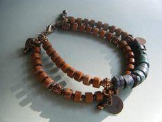 Heishi Beaded Bracelet of Wood Jasper Turquoise and by roxcraft, $75.00
