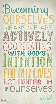 """Becoming ourselves means we are actively cooperating with God's intention for our lives, not fighting Him or ourselves."" - Stasi Eldredge What do you think? For more from Stasi, click here http://www.familychristian.com/becoming-myself-embracing-gods-dream-of-you.html"