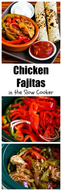 Chicken Fajitas in the CrockPot are an easy, delicious family dinner, and you can make this even when it's hot outside because using the slow cooker will keep your house cool.  Use low-carb or gluten-free tortillas as desired for those diets.  Every family member can personalize their toppings, and you can even eat the chicken and vegetables over lettuce for a completely #LowCarb meal.  [from KalynsKitchen.com]