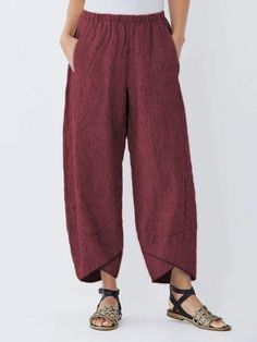 Pockets Striped Casual Capri Pants Sophisticated Work Attire and Office Outfits for Women Cotton Pants, Linen Pants, Pants For Women, Clothes For Women, Casual Pants, Capri Pants, Plus Size, Striped Pants, Womens Fashion