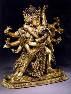 "Gilt Bronze Figures of Chakrasamvara and Vajravarahi, Chakrasamvara tantra, literally Circle of Bliss, Tibet, 14th Century, 12 9/16"" high"