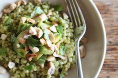 Pearl Couscous with Cilantro, Corn & Avocado