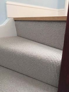 Carpet to Stairs in Private Residence In South London .Grey Carpet to Stairs in Private Residence In South London . Grey Stair Carpet, Carpet Diy, Hallway Carpet, Hallway Flooring, Bedroom Carpet, Striped Carpet Stairs, Carpet Ideas, Carpet Staircase, Dark Carpet