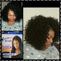 My client loves her new Crochet braids using Gogo curl by Freetress color 1b