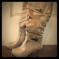 """Spring Light Beige Colored Boots Worn Once Light Beige Colored Leather Boots. Sits Just Below the knee. The heel is about 3 1/4"""" height. absolutely gorgeous and in perfect condition Shoes Heeled Boots"""