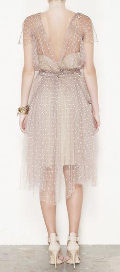 Lela Rose Tan And White Dress