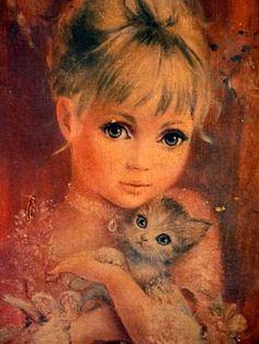 Vintage Big Eyed Art postcard. Girl with kitten. Artist unknown.