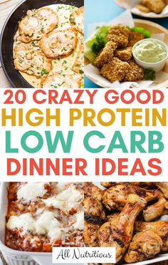20 High Protein Low Carb Dinner Ideas Try these high protein low carb dinner ideas and enjoy eating a high protein diet. These high protein meals are also good when you're eating a low carb diet. High Protein Snacks, High Protein Dinner, Protein Dinners, High Protein Bariatric Recipes, Dinner Healthy, Low Carb High Protein Recipes Snacks, Low Cal Dinner, Healthy Dinner Options, Low Carb Drinks