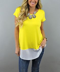Loving this Yellow Chiffon Short-Sleeve Top on #zulily! #zulilyfinds