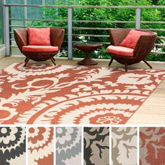 This indoor/outdoor 7'3 square rug is the perfect addition for your patio or sunroom. Created to withstand the rigors of outdoor use, the colors and designs will add to the outdoor ambiance whether rain or shine.