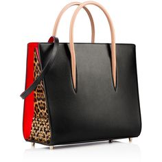 Christian Louboutin Paloma Large Tote Bag (€2.330) ❤ liked on Polyvore featuring bags, handbags, tote bags, patent purse, structured purse, structured tote, patent leather tote and pocket tote