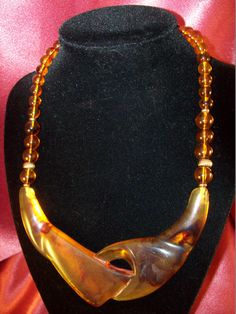 Vintage Abstract Amber Chevron Necklace by CopperCreekVintage, $12.00