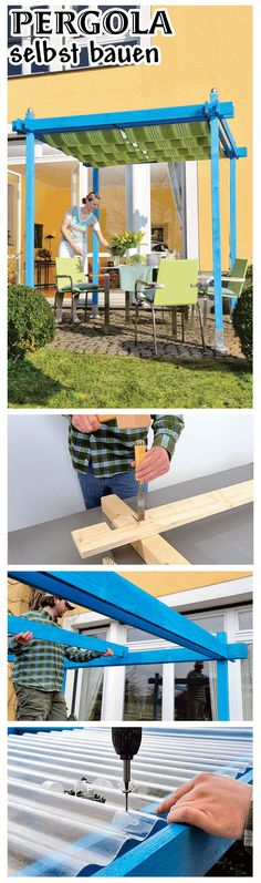 Eine Pergola schafft Schutz vor der Sonne. Unser Modell ist günstig zu bauen, weil es aus Holz und Wellpolyesterplatten besteht. Wir zeigen, wie man eine kleine Pergola für die Terrasse selbst baut.
